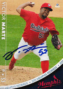 Victor Marte Autograph on a 2013 Brandt Baseball Card (#14)