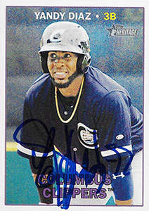 Yandy Diaz Autograph on a 2016 Topps Heritage Baseball Card (#138)