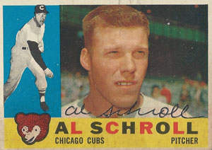Al Schroll Autograph on a 1960 Topps Baseball Card  (#357 | <a href='../baseball_cards/baseball_cards_oneset.php?s=1960top01' title='1960 Topps Baseball Card Checklist'>Checklist</a>)