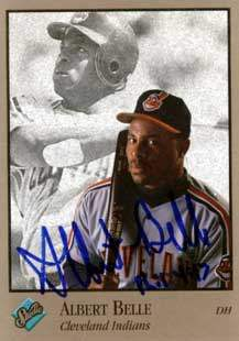 Albert Belle Autograph on a 1992 Leaf Baseball Card (#164)