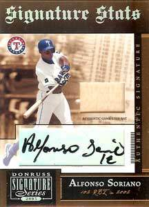 Alfonso Soriano Autograph on a 2005 Donrus Signature Series (#SS-4)