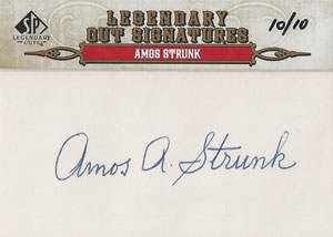 Amos Strunk Autograph on a 2011 Legendary Cuts (#10/10)