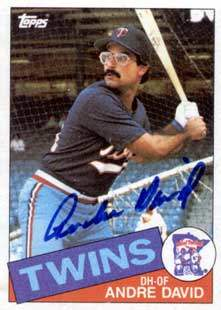 Andre David Autograph on a 1985 Topps Baseball Card (#43 | <a href='../baseball_cards/baseball_cards_oneset.php?s=1985top06' title='1985 Topps Baseball Card Checklist'>Checklist</a>)