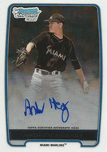 Andrew Heaney Autograph on a 2013 Bowman Chrome