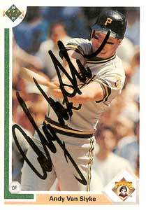 Andy Van Slyke Autograph on a 1991 Upper Deck Baseball Card (#256 | <a href='../baseball_cards/baseball_cards_oneset.php?s=1991upp01' title='1991 Upper Deck Baseball Card Checklist'>Checklist</a>)