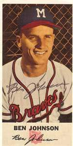 Ben Johnson Autograph on a 1952 Johnston Cookies Baseball Card (#12)