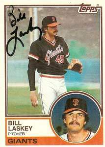 Bill Laskey Autograph on a 1983 Topps Baseball Card (#518 | <a href='../baseball_cards/baseball_cards_oneset.php?s=1983top03' title='1983 Topps Baseball Card Checklist'>Checklist</a>)