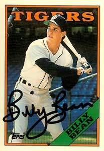 Billy Bean Autograph on a 1988 Topps Baseball Card (#267 | <a href='../baseball_cards/baseball_cards_oneset.php?s=1988top08' title='1988 Topps Baseball Card Checklist'>Checklist</a>)