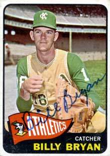 Billy Bryan Autograph on a 1965 Topps Baseball Card (#51 | <a href='../baseball_cards/baseball_cards_oneset.php?s=1965top01' title='1965 Topps Baseball Card Checklist'>Checklist</a>)