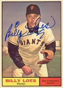 Billy Loes Autograph on a 1961 Topps Baseball Card (#237 | <a href='../baseball_cards/baseball_cards_oneset.php?s=1961top01' title='1961 Topps Baseball Card Checklist'>Checklist</a>)