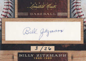 Billy Zitzmann Autograph on a 2011 Panini (#26)