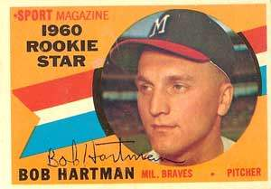 Bob Hartman Autograph on a 1960 Topps Baseball Card  (#129 | <a href='../baseball_cards/baseball_cards_oneset.php?s=1960top01' title='1960 Topps Baseball Card Checklist'>Checklist</a>)