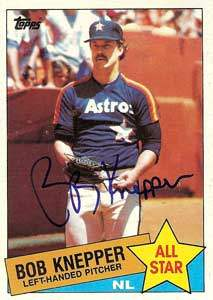 Bob Knepper Autograph on a 1985 Topps Baseball Card (#721 | <a href='../baseball_cards/baseball_cards_oneset.php?s=1985top06' title='1985 Topps Baseball Card Checklist'>Checklist</a>)