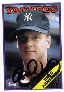 Brad Arnsberg Autograph on a 1988 Topps Baseball Card (#159 | <a href='../baseball_cards/baseball_cards_oneset.php?s=1988top08' title='1988 Topps Baseball Card Checklist'>Checklist</a>)