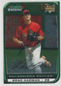 Brad Harman Autograph on a 2008 Bowman Chrome (#196)