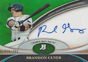 Brandon Guyer Autograph on a 2011 Bowman Platinum Baseball Card (#219/399)