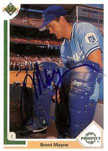 Brent Mayne Autograph on a 1991 Upper Deck Baseball Card (#72 | <a href='../baseball_cards/baseball_cards_oneset.php?s=1991upp01' title='1991 Upper Deck Baseball Card Checklist'>Checklist</a>)