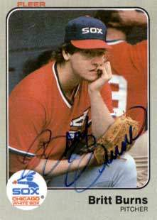 Britt Burns Autograph on a 1983 Fleer Baseball Card (#232 | <a href='../baseball_cards/baseball_cards_oneset.php?s=1983fle01' title='1983 Fleer Baseball Card Checklist'>Checklist</a>)