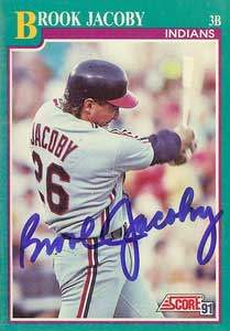 Brook Jacoby Autograph on a 1991 Score Baseball Card (#162 | <a href='../baseball_cards/baseball_cards_oneset.php?s=1991sco01' title='1991 Score Baseball Card Checklist'>Checklist</a>)