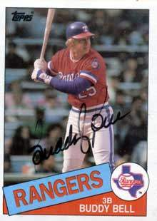 Buddy Bell Autograph on a 1985 Topps Baseball Card (#745 | <a href='../baseball_cards/baseball_cards_oneset.php?s=1985top06' title='1985 Topps Baseball Card Checklist'>Checklist</a>)