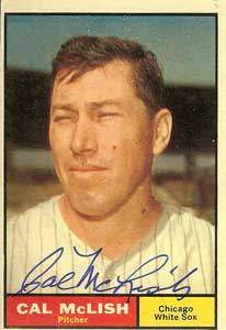 Cal McLish Autograph on a 1961 Topps Baseball Card (#157 | <a href='../baseball_cards/baseball_cards_oneset.php?s=1961top01' title='1961 Topps Baseball Card Checklist'>Checklist</a>)