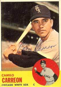 Camilo 'Cam' Carreon Autograph on a 1963 Topps Baseball Card (#308 | <a href='../baseball_cards/baseball_cards_oneset.php?s=1963top01' title='1963 Topps Baseball Card Checklist'>Checklist</a>)