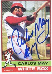 Carlos May Autograph on a 1976 Topps Baseball Card (#110 | <a href='../baseball_cards/baseball_cards_oneset.php?s=1976top01' title='1976 Topps Baseball Card Checklist'>Checklist</a>)