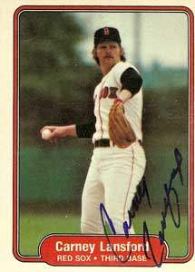 Carney Lansford Autograph on a 1982 Fleer (#298)