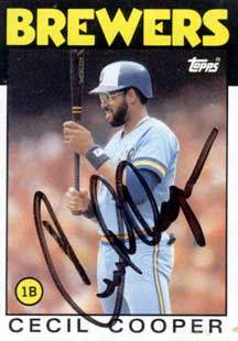 Cecil Cooper Autograph on a 1986 Topps Baseball Card (#385 | <a href='../baseball_cards/baseball_cards_oneset.php?s=1986top07' title='1986 Topps Baseball Card Checklist'>Checklist</a>)