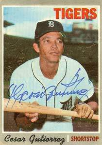 Cesar Gutierrez Autograph on a 1970 Topps Baseball Card (#269 | <a href='../baseball_cards/baseball_cards_oneset.php?s=1970top01' title='1970 Topps Baseball Card Checklist'>Checklist</a>)