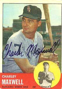 Charlie 'Smokey' Maxwell Autograph on a 1963 Topps Baseball Card (#86 | <a href='../baseball_cards/baseball_cards_oneset.php?s=1963top01' title='1963 Topps Baseball Card Checklist'>Checklist</a>)