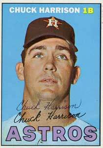 Chuck Harrison Autograph on a 1967 Topps Baseball Card (#8 | <a href='../baseball_cards/baseball_cards_oneset.php?s=1967top01' title='1967 Topps Baseball Card Checklist'>Checklist</a>)