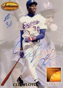 Cliff Floyd Autograph on a 1994 Ted Williams Card (#157)