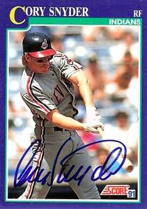 Cory Snyder Autograph on a 1991 Score Baseball Card (#19 | <a href='../baseball_cards/baseball_cards_oneset.php?s=1991sco01' title='1991 Score Baseball Card Checklist'>Checklist</a>)