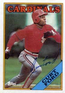 Curt Ford Autograph on a 1988 Topps Baseball Card (#612 | <a href='../baseball_cards/baseball_cards_oneset.php?s=1988top08' title='1988 Topps Baseball Card Checklist'>Checklist</a>)