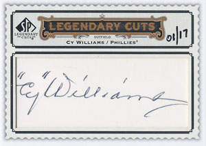 Cy Williams Autograph on a 2009 Upper Deck Legendary Cuts (#LC-115)