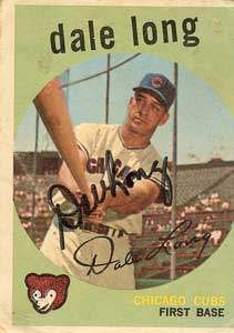 Dale Long Autograph on a 1959 Topps Baseball Card (#414 | <a href='../baseball_cards/baseball_cards_oneset.php?s=1959top01' title='1959 Topps Baseball Card Checklist'>Checklist</a>)