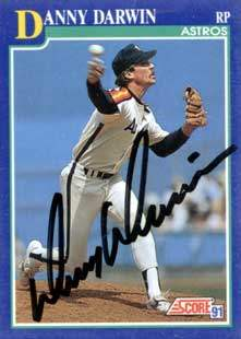 Danny Darwin Autograph on a 1991 Score Baseball Card (#51 | <a href='../baseball_cards/baseball_cards_oneset.php?s=1991sco01' title='1991 Score Baseball Card Checklist'>Checklist</a>)