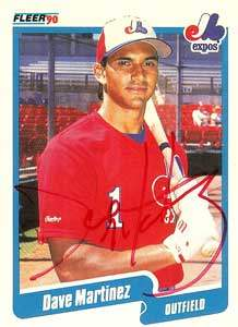 Dave Martinez Autograph on a 1990 Fleer (#353)