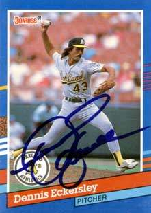 Dennis Eckersley Autograph on a 1991 Donruss (#270)