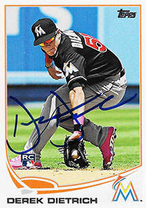 Derek Dietrich Autograph on a 2013 Topps Baseball Card (#US178)