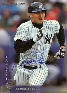 Derek Jeter Autograph on a 1996 Donruss (#49)