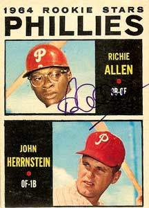 Richie 'Dick' Allen Autograph on a 1964 Topps Baseball Card (#243 | <a href='../baseball_cards/baseball_cards_oneset.php?s=1964top01' title='1964 Topps Baseball Card Checklist'>Checklist</a>)