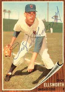 Dick Ellsworth Autograph on a 1962 Topps Baseball Card (#264 | <a href='../baseball_cards/baseball_cards_oneset.php?s=1962top01' title='1962 Topps Baseball Card Checklist'>Checklist</a>)
