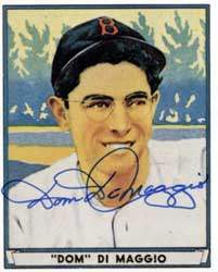 Dom 'The Little Professor' DiMaggio Autograph on a 1949 Play Ball Reprint (#63)
