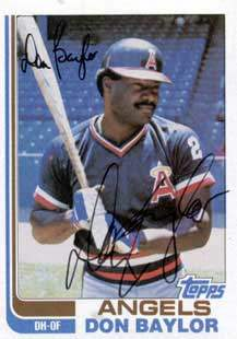 Don Baylor Autograph on a 1982 Topps Baseball Card (#415)