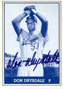 Don Drysdale Autograph on a 1980 TCMA (#028)