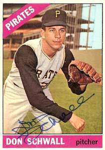 Don Schwall Autograph on a 1966 Topps Baseball Card (#144 | <a href='../baseball_cards/baseball_cards_oneset.php?s=1966top01' title='1966 Topps Baseball Card Checklist'>Checklist</a>)