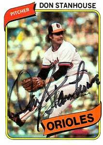 Don Stanhouse Autograph on a 1980 Topps (#517)