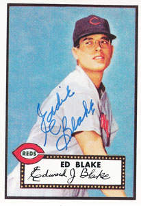 Ed Blake Autograph on a 1952 Topps Reprint (#144)